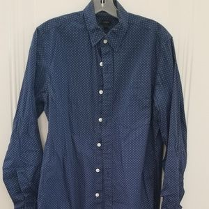 J. Crew shirt blue w white dots S roll up sleeves